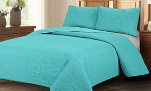 Geometric Reversible Oversized Bedspread Coverlet Quilt Set (3-Piece)