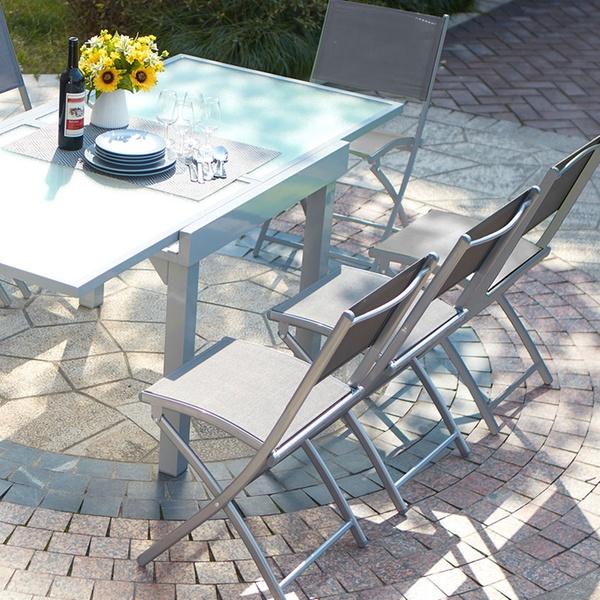Table de jardin à rallonge Alu/verre trempé 8 personnes avec 4 ou 8 chaises  textilène