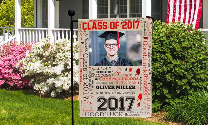 up to 73 off personalized graduation garden flags groupon