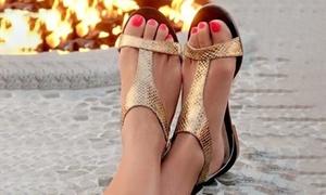 Sandales plates métallisées