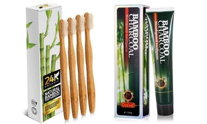 Bamboo Charcoal Toothpaste and Bamboo Toothbrush Set