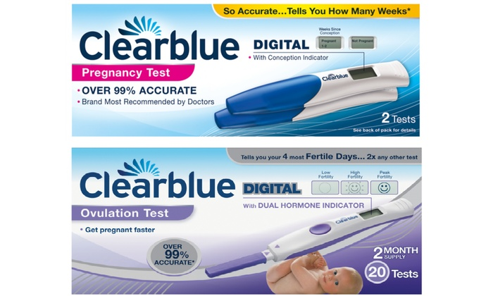 Up to 3 Clearblue Digital Pregnancy Tests (2 pack) and Digital Ovulation  Tests (20 pack) from £35 99