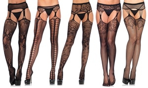 Leg Avenue Women's Industrial Net Suspender Fishnets