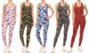 Women's 2-Piece Camo and Printed Active Top and Bottoms Sets with Plus