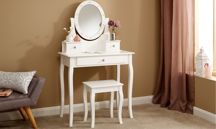 LED Mirror Dressing Table with Stool