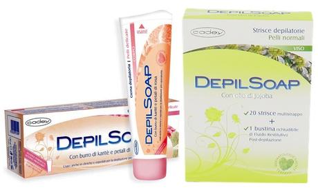Fino a 12 confezioni di strisce o creme depilatorie Depilsoap disponibili in...