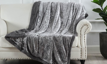 Crushed Velvet Sherpa Reverse Throw