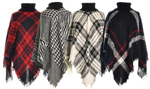 Women's One Size Woven Turtle Neck Sweater Poncho with Fringed Edges