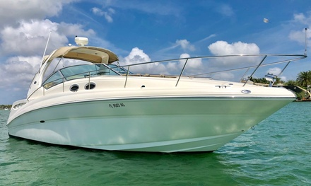 Three- or five-hour yacht rental with captain, fuel, floating mat, non-alcoholic drinks, ice, and utensils included