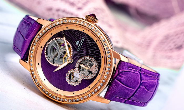 Empress Tatiana Automatic Semi-Skeleton Genuine Leather Watch With Free Delivery