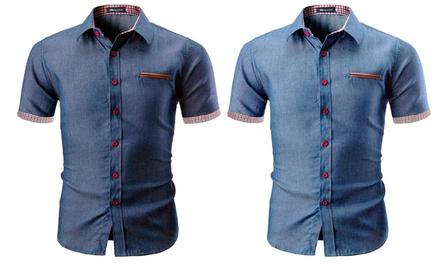 Camisa Denim de manga corta para hombre