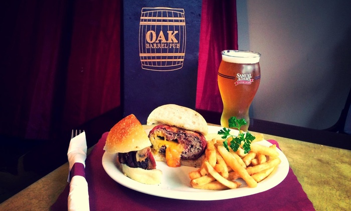 The Oak Barrel Pub - West Orange: Lunch or Dinner for Two or Four at The Oak Barrel Pub (Up to 42% Off)