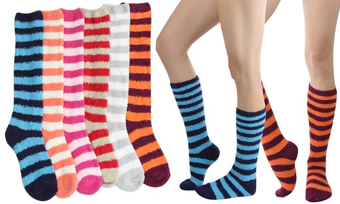 Women's Striped Plush Knee-High Socks (6 Pairs)