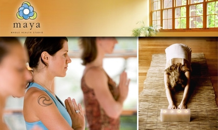 Maya Whole Health Studio - Fremont: $30 for Four-Week Intro to Yoga or Pilates Classes at Maya Whole Health Studio ($60 Value)