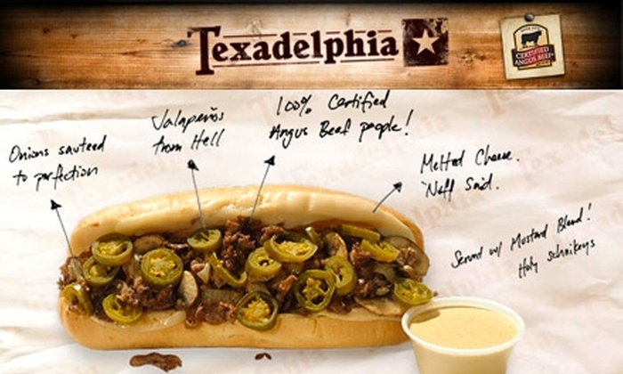 Texadelphia - Multiple Locations: $7 for $15 Worth of Texan Cheesesteaks and More at Texadelphia