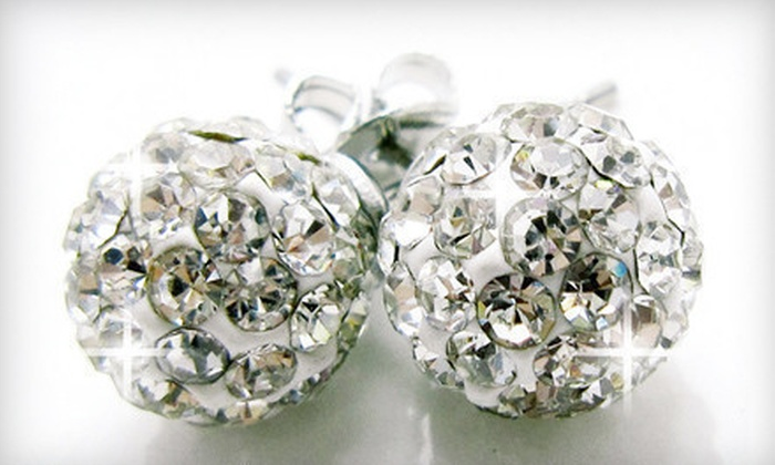 CZ Jewels - Seattle: $29 for 8 mm Round Crystal-Pavé Disco-Ball Earrings with Swarovski Elements Crystals from CZ Jewels ($99.95 Value)