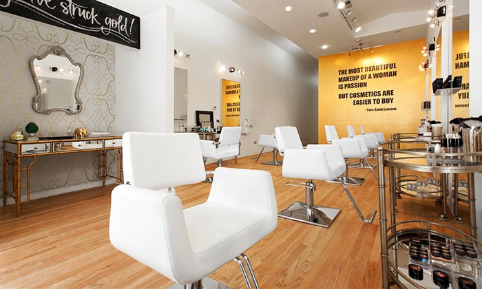 goldplaited - Lakeview: Blowouts or a Private Hair-and-Makeup Class for 10 at goldplaited, a Blowout and Makeup Lounge (Up to 53% Off)