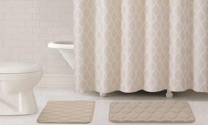 Memory-Foam Bath Set (15-Piece) | Groupon Goods on burgundy and green bathroom accessory set, burgundy carpet bathroom set, microfiber bathroom rug set, wood bathroom set, toilet set, natural bathroom set, plush bathroom set, full bathroom set, memory foam bathroom mat, bamboo bathroom set, disney bathroom set,