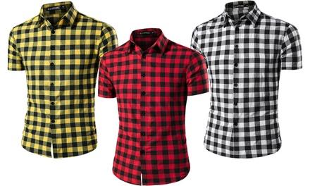 Chemises manches courtes à carreaux pour Homme
