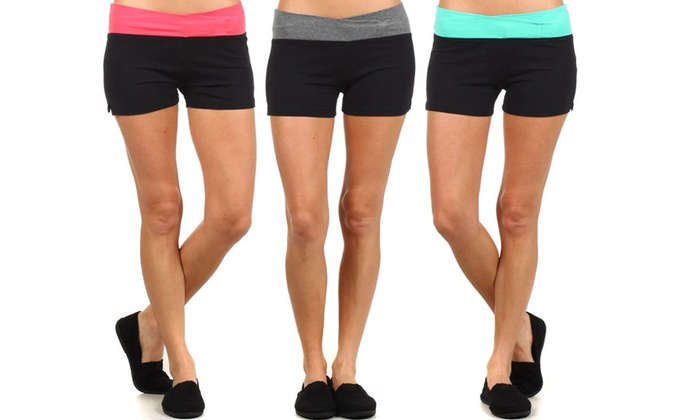 Fold Over Extra Stretch Yoga Active Wear Shorts: Fold Over Extra Stretch Yoga Active Wear Shorts