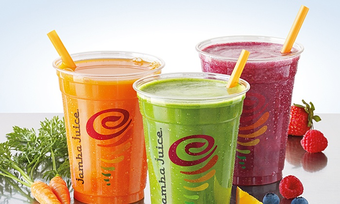 Jamba Juice - Multiple Locations: Three or Five Groupons, Each Good for One Smoothie, Juice, or Bowl at Jamba Juice (43% Off). Two Locations.