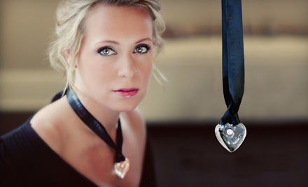 Large Glass Heart Pendant with Signature Black Ribbon (a $60 value) - Rebecca Lawlor Limited in