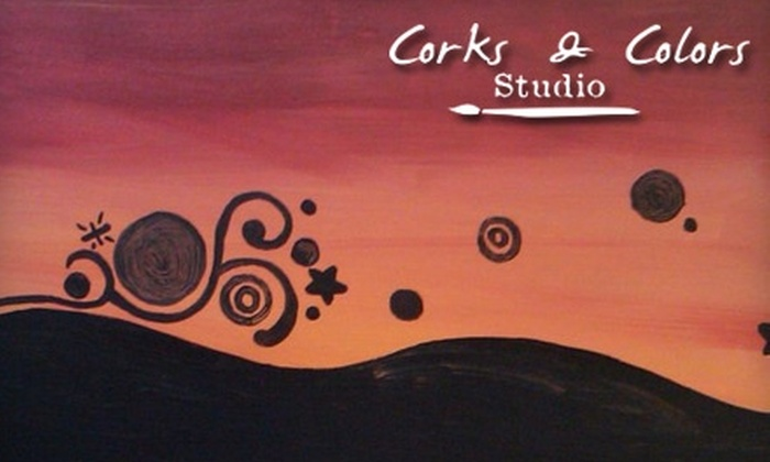 Corks & Colors Studio - Pleasant Street: $12 for Two-Hour Painting Class at Corks & Colors Studio ($25 Value)