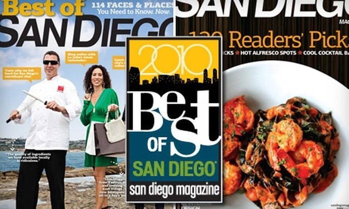 """San Diego Magazine: One-Year Subscription or Ticket to """"Best of"""" Event from """"San Diego Magazine."""" Choose from Two Options."""