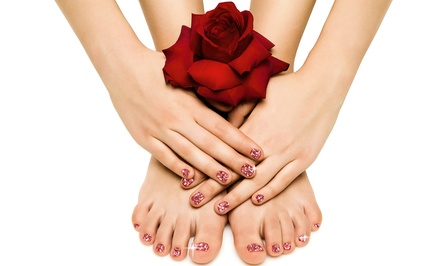 Manicure or Pavé-Crystal Spa Pedicure at American Beauty Boutique & Salon (Up to 53% Off). Three Options Available.
