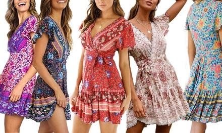 Floral Print V-Neck Summer Dresses