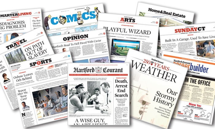 """Hartford Courant: 52-Week Sunday-Only or Thursday–Sunday Subscription to the """"Hartford Courant"""" (Up to 94% Off)"""