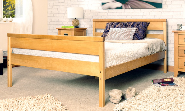 Solid wooden bed frame with optional mattress for 85 with for Bed frame deals