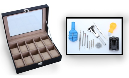 10-Count Watch Box with 12-Piece Watch Repair Kit