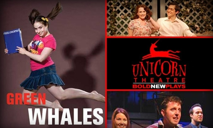 "Unicorn Theatre - Hanover Place: $12 for an Adult Ticket to ""Green Whales"" at Unicorn Theatre ($27.50 Value). Buy Here for Sunday Matinee at 3 p.m., Tuesday- through Thursday-Night Show at 7:30 p.m., or the one-time Saturday matinee on March 6 at 3 p.m. Click Below for Additional Times."