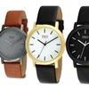 Unisex Modern Watch with Genuine Leather Strap