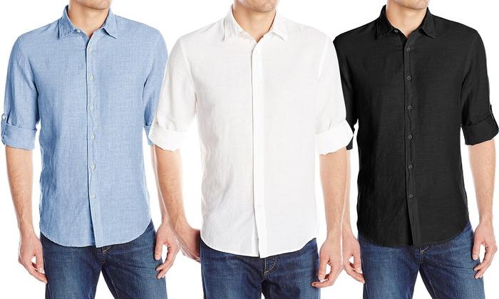 newest 07461 e4d6f Fino a 56% su Set di 2 camicie di lino da uomo | Groupon