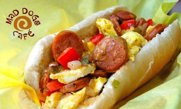 Mad Dogs Café - Pacific Beach: $20 Worth of European Beachside Grub at Mad Dogs Café
