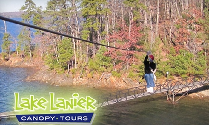 Lake Lanier Canopy Tours - Flowery Branch: $45 for a Three-Hour Zip-Line Lakeside Tour from Lake Lanier Canopy Tours ($100 Value)