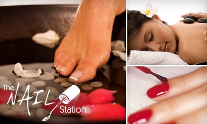 The Nail Station - Huntington: $47 for Classic Manicure and Spa Pedicure with Stone Massage at The Nail Station ($95 Value)