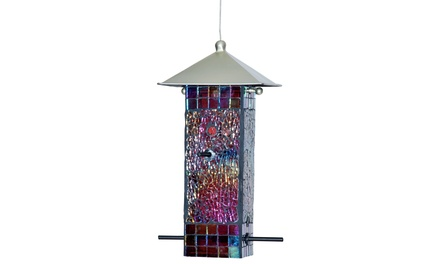 Blue Dot Trading Stained Glass Mosaic Bird Feeder