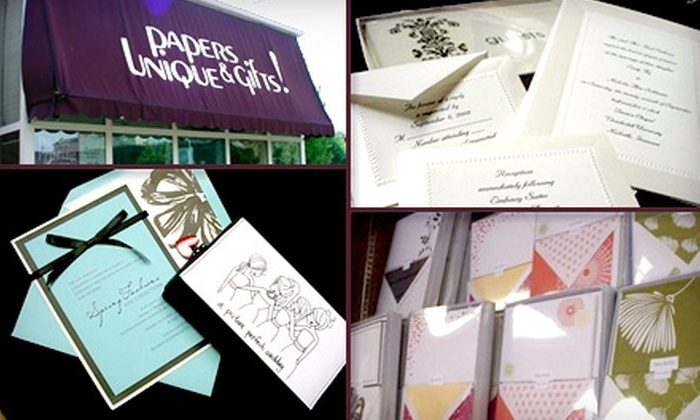 Papers Unique & Gifts - Louisville: $25 for $50 Worth of Personalized Stationery, Invitations, Gifts, and More at Papers Unique & Gifts
