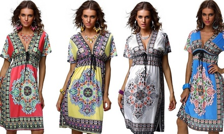 Printed Boho Beach Dress in Choice of Colour for AED 69