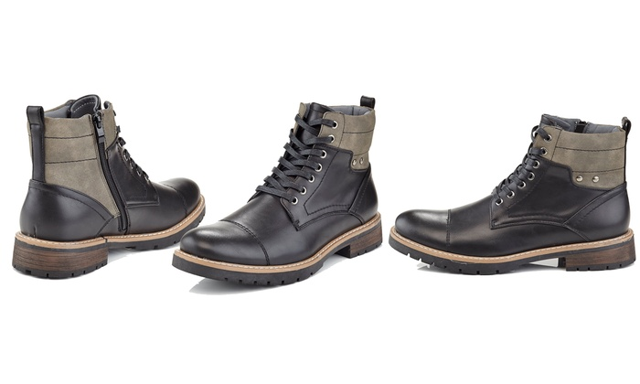 Marco Vitals Men's Studded Lace-up Combat Boots (Size 11) | Groupon
