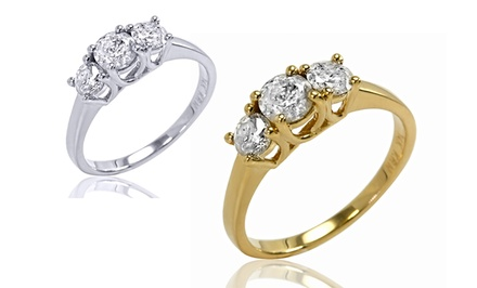 1.00 CTTW 3-Stone Diamond Ring in 10K White or Yellow Gold