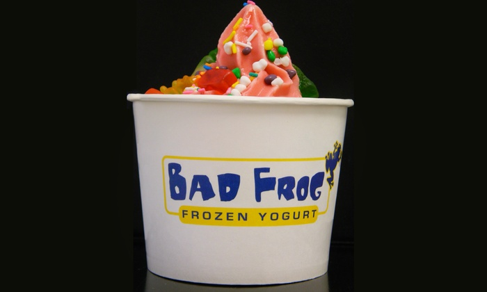 Bad Frog Frozen Yogurt - Multiple Locations: Fro-Yo, Dizzy Frogs, or Prepackaged Containers at Bad Frog Frozen Yogurt (Up to 50% Off). Three Options.