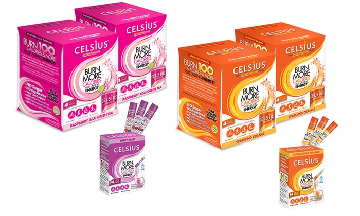 Celsius Weight Loss Drink Bundle With Two 4 Packs Of 12 Fl Oz Cans And 14 Pack Of Powdered Drink Sticks