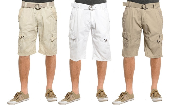 Men's 100% Cotton Belted Cargo Shorts | Groupon