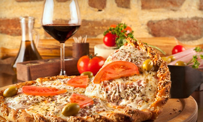 Mikalinos Pizza & Pasta - Victoria Estates: $12 for a 14-Inch Gourmet Pizza with Two Beers or House Wines at Mikalinos Pizza & Pasta in Turlock (Up to $25.95 Value)