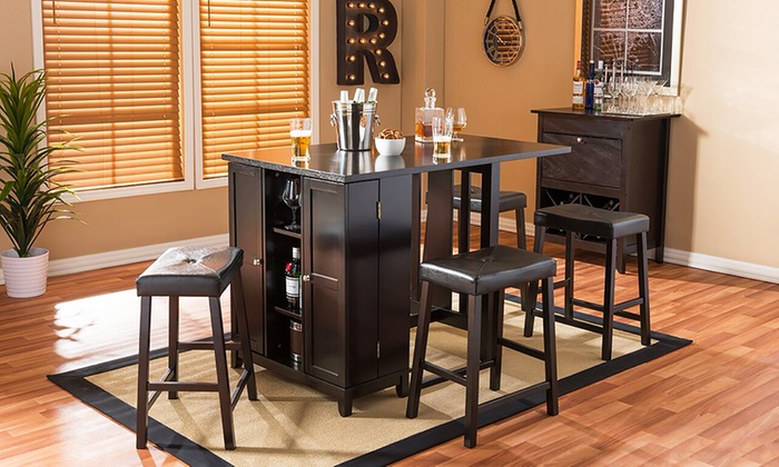 Bon Aurora Modern Pub Table Set With Cabinet Base And Stools (5 Piece) ...