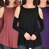 Lyss Loo Cold-Shoulder Long-Sleeve Top (3-Pack)